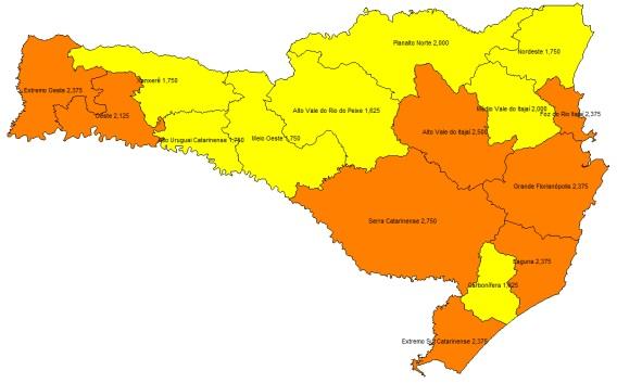 Mapa atual da classificação de risco potencial no estado. Laranja: grave; Amarelo: Alto - Créditos: Antônio Rozeng