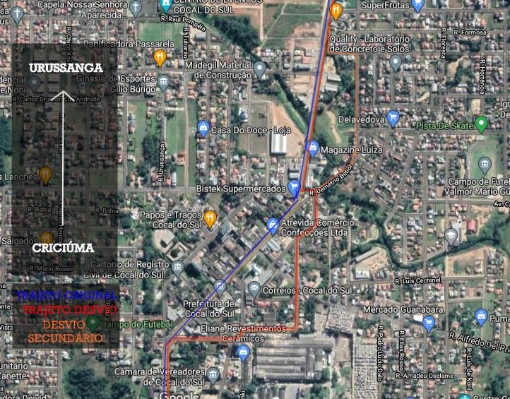 Desvio caso haja movimentação na Praça da Matriz após o pleito. Foto: Portal Cocal/Reprodução Maps