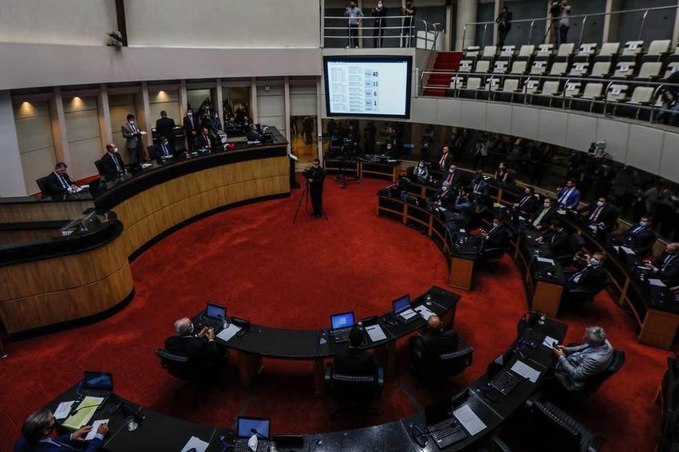 Sessão extraordinária de votação sobre processo de impeachment contra governador de SC, Carlos Moisés, em 17 de setembro — Foto: Diorgenes Pandini/NSC