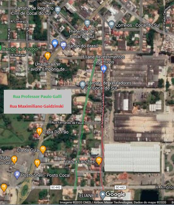 Em verde, a rua Paulo Galli que é alternativa de desvio com o bloqueio da Maximiliano Gaizinski.