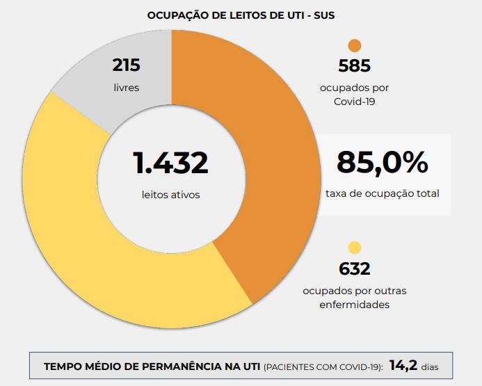 Números de UTI Sus em Santa Catarina. Imagem: Reprodução Governo de SC