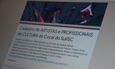 Artistas e espaços culturais em Cocal do Sul poderão ser beneficiados com a Lei emergencial de auxílio a cultura