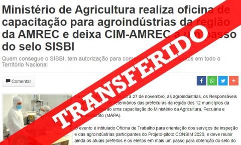 Oficina de capacitação para agroindústrias da região da AMREC tem data transferida