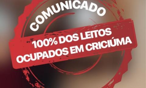 Coronavírus: 100% dos leitos ocupados em Criciúma
