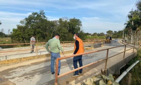 Cocal do Sul recebe visita da defesa Civil para vistoria de duas pontes